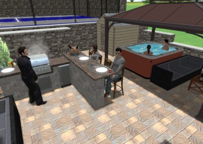 Grill Area and Hot Tub
